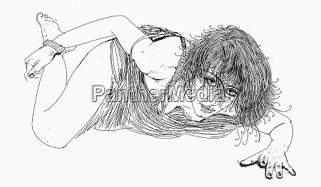 donna, erotico, linea, raffinata, e, sensuale, progettato - 26138920