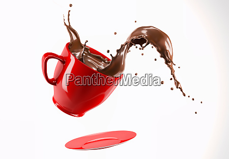 red porcelain mug cup with liquid