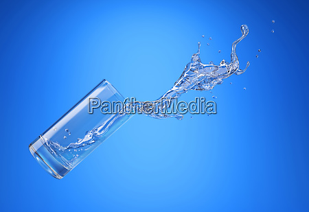 glass with spilling water splash side