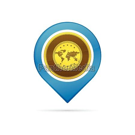 gold symbol address pin icon