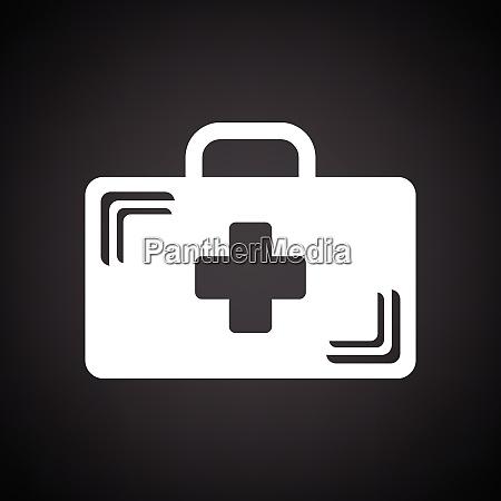 icona del caso medico sfondo nero