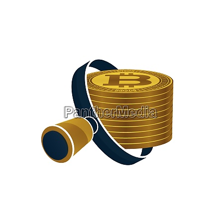 black magnifying glass gold colored bitcoins