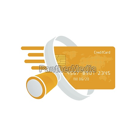 yellow credit card and white magnifying