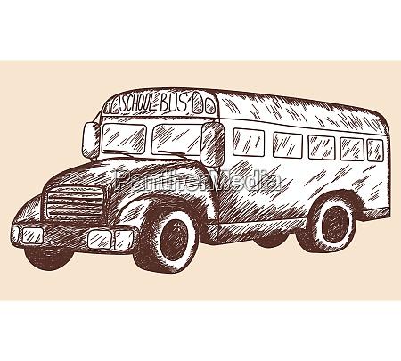 school bus sketch eps 10 vector
