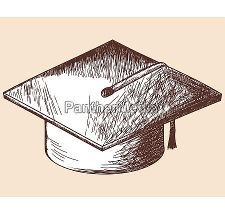 graduation cap sketch eps 10