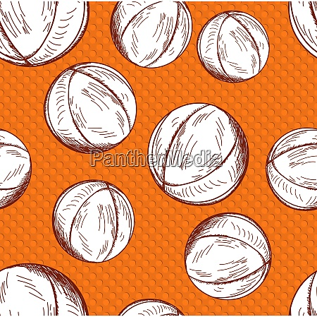 basketball seamless pattern in sketch style