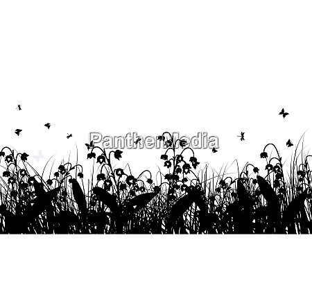 meadow background with butterflies all objects