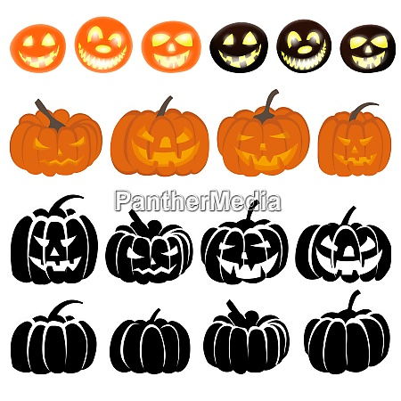 halloween holiday elements set collection with