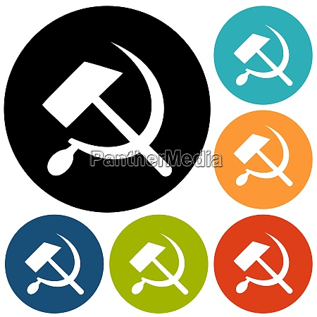 communist star with hammer and sickle