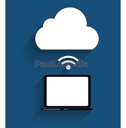 concetto di cloud computing su diversi