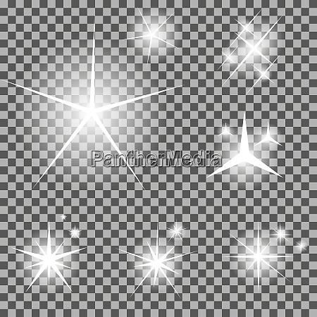 set di stelle luminose incandescente con