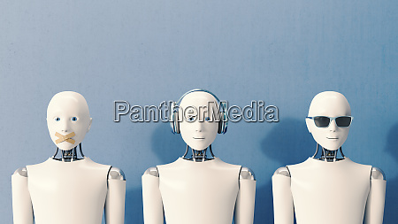 rendering 3d robot che non parlano