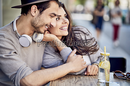 happy affectionate young couple at outdoors