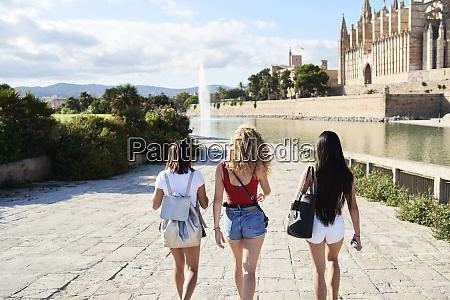 spain mallorca palma rear view of