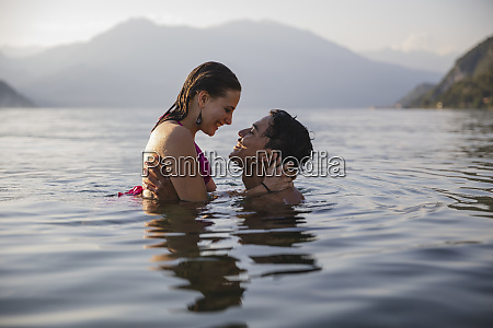 happy affectionate young couple in a