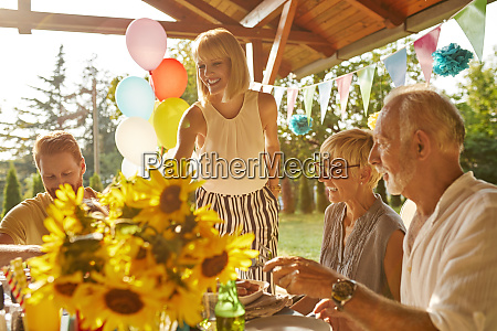 happy couple with parents having a