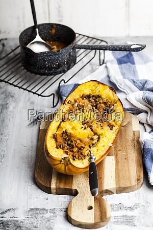 baked spaghetti squash with vegan bolognese