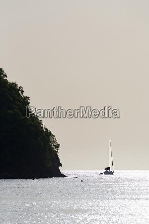 boat moored off marigot bay at