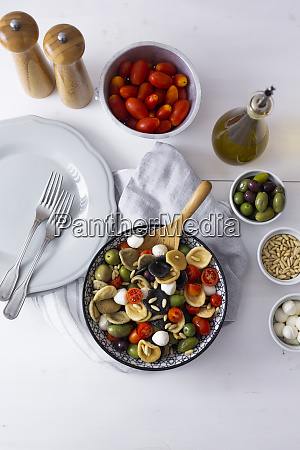 mediterranean orecchiette with tomato olives mozzarella