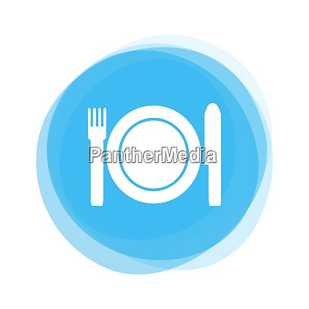 isolated light blue round button plate