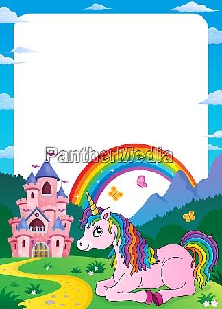 unicorno vicino al castello tema telaio