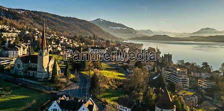 aerial view of zug switzerland