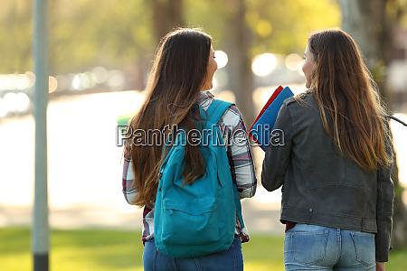 vista posteriore di due studenti che