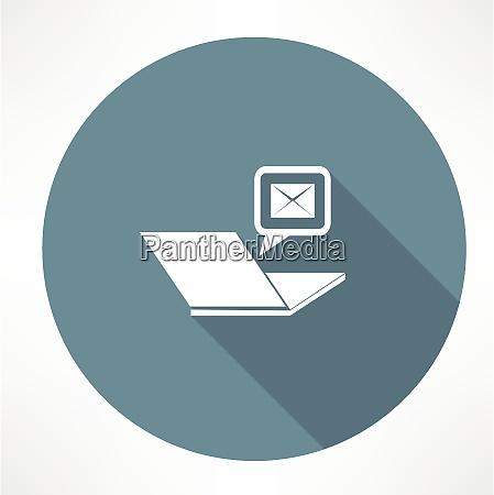 computer portatile e licona di posta