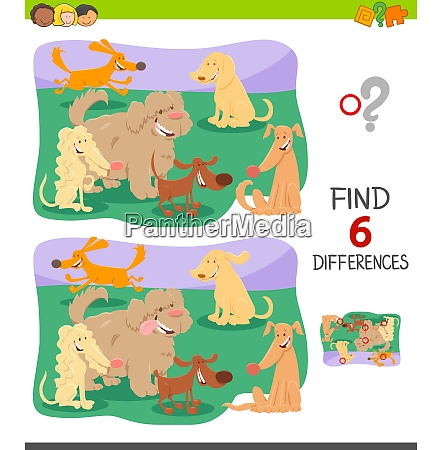 differences game with cute cartoon dogs