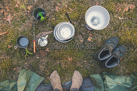 camping gear and traveler feet by