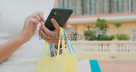 woman hold with shopping bag and