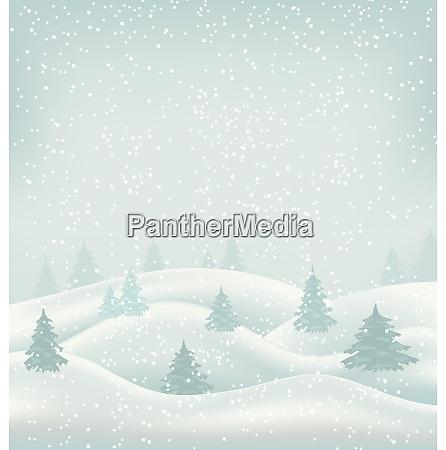 illustrazione paesaggio invernale di natale nevicate