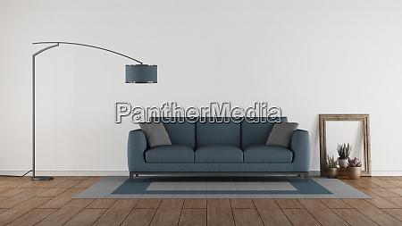 blue sofa in a minimalist living