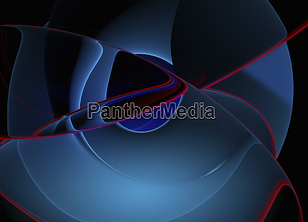curving pink lines on blue abstract