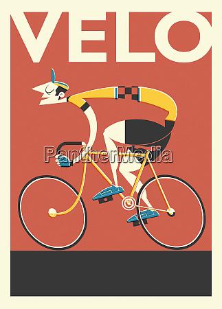 poster retro di ciclista francese