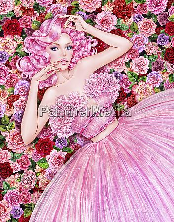 donna seducente sdraiata in fiori