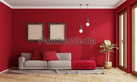 soggiorno rosso con divano moderno