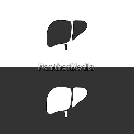 liver icon on black and white