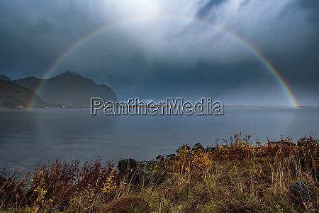 norway lofoten islands bostad rainbow and