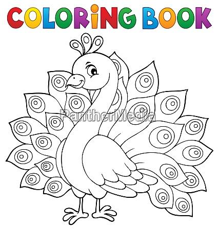 tema pavone libro da colorare 1