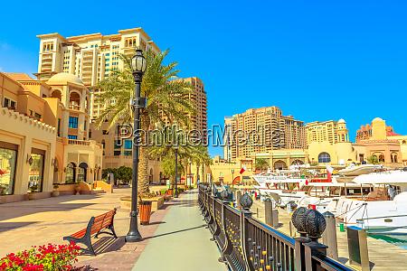 marina corniche promenade in porto arabia