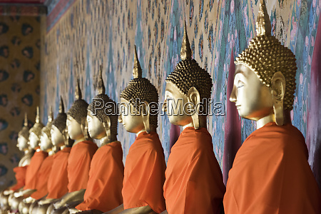 seated buddha statues in a row