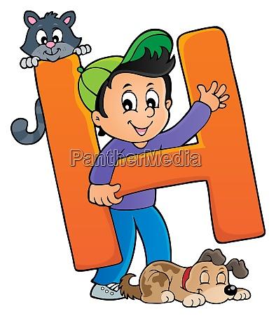 ragazzo e animali domestici con lettera