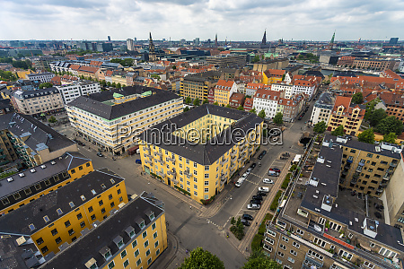 view of city center from above