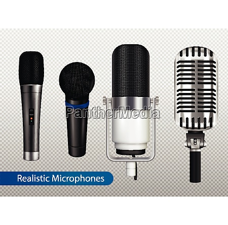 music studio equipment transparent set with