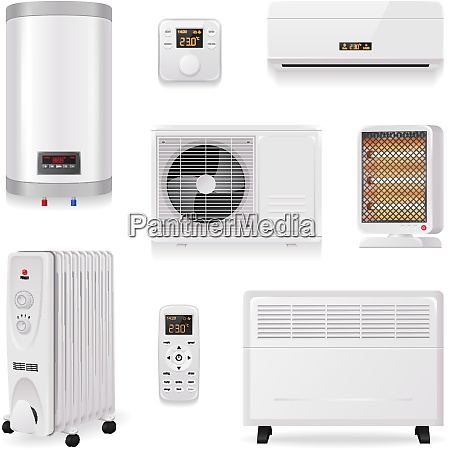 climate control equipment realistic set with
