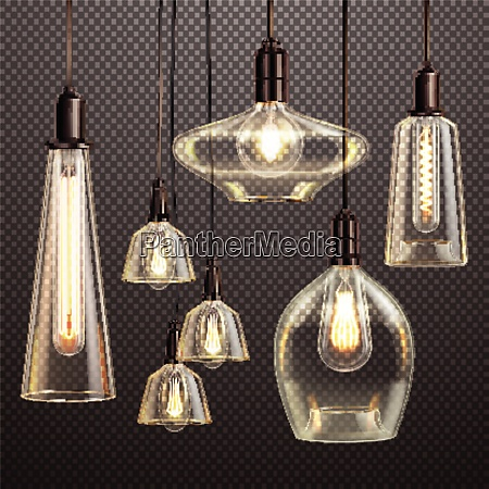 hanging clear glass lamps with glowing