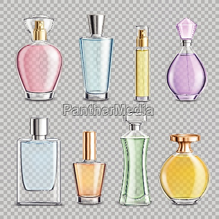 set of perfume glass bottles with