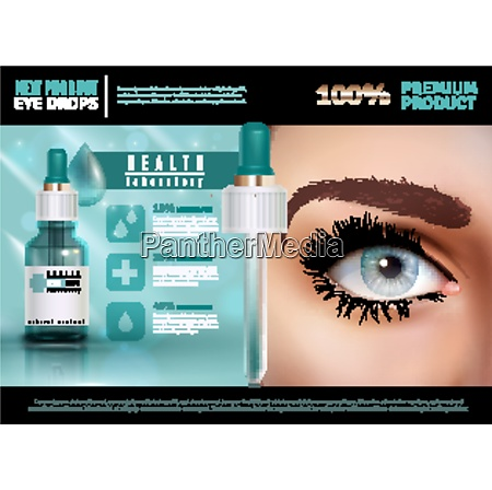eye drops in glass vial with