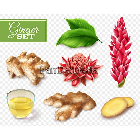 set of ginger root and red
